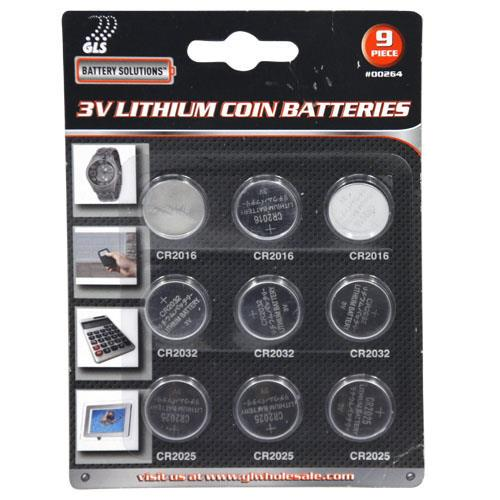 Wholesale 9pc 3V Lithium Coin Batteries