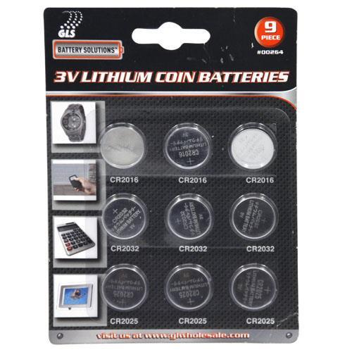 Wholesale 9pc 3V Lithium Coin Batteries