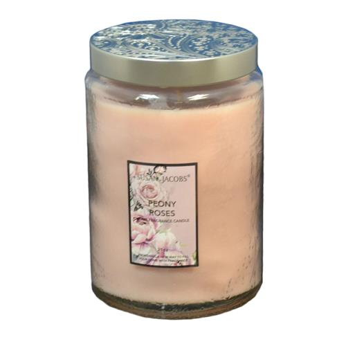 Wholesale 21oz TEXTURED GLASS CANDLE-PEONY ROSES