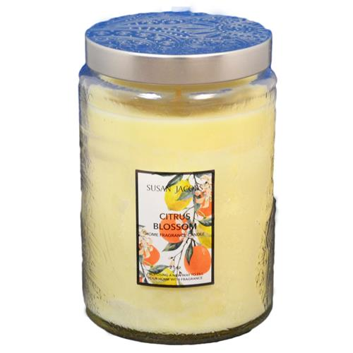 Wholesale 21oz TEXTURED GLASS CANDLE-CITRIUS BLOSSOM