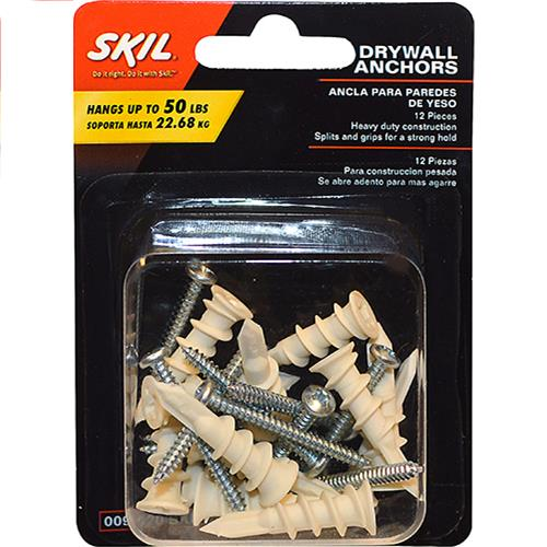 Wholesale 12PC DRYWALL ANCHORS 50LB CAPA