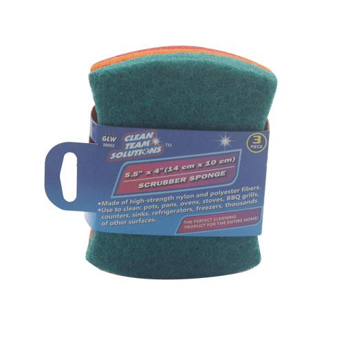 Wholesale 3pc SCRUBBER SPONGE 5.5 X 4""