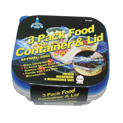 Wholesale 3 pack food container & lids