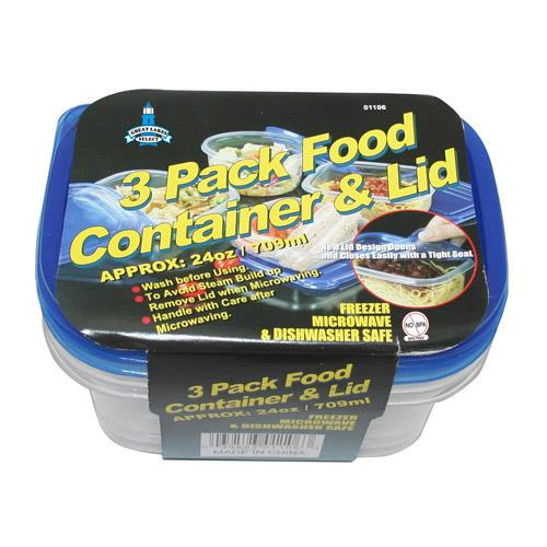 Wholesale 3PC FOOD CONTAINERS OVAL