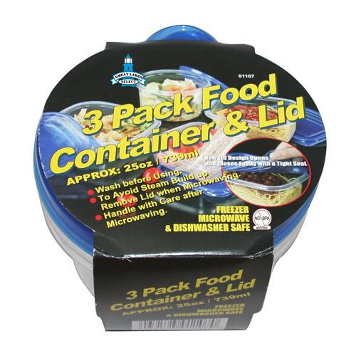 Wholesale 3 pack food containers & lids