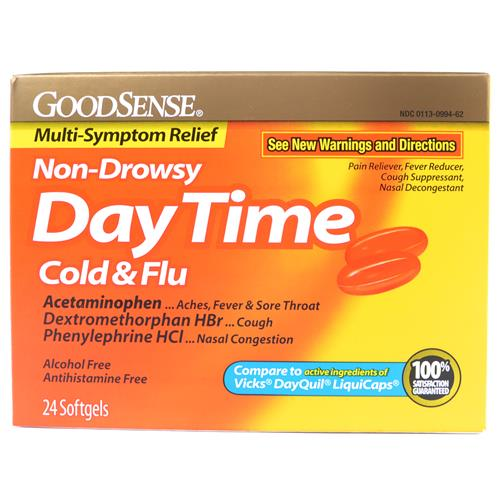 Wholesale Good Sense Daytime Cold & Flu Multi Symptom Softgels Exp 11/14