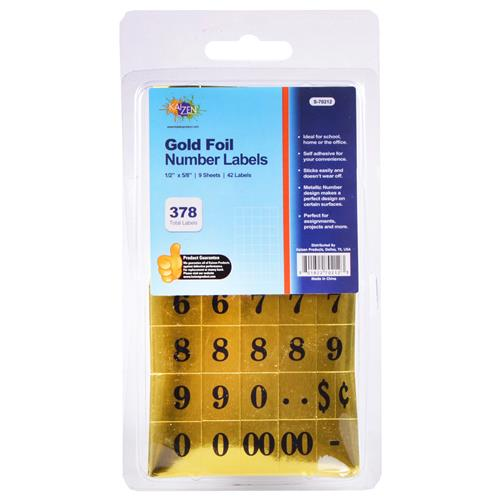 "Wholesale Kaizen Gold Foil Number Labels 0.5"""""""" x 0.62"""""""""