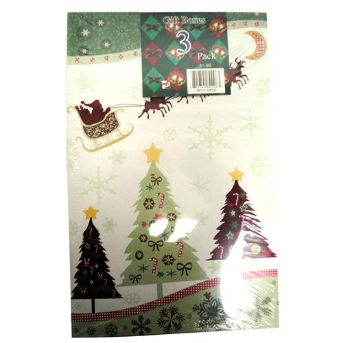 Wholesale Medium Christmas Print Clothing Gift Box 3 Count 4 Assorted Prints