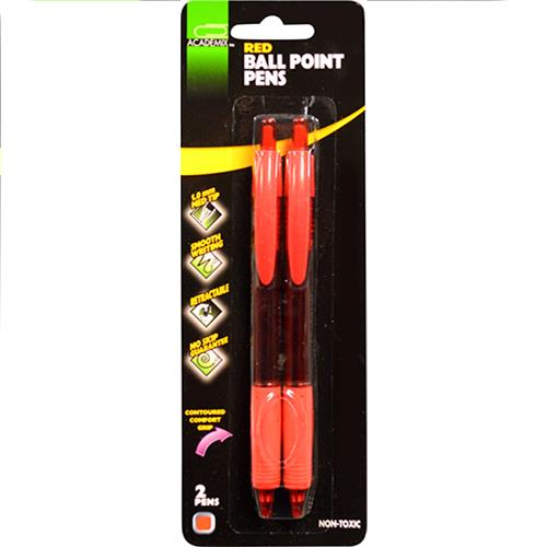 Wholesale 2PK BALL POINT PENS RED COMFORT GRIP