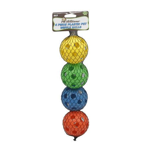 Wholesale 4pc PLASTIC PET WIFFLE BALLS