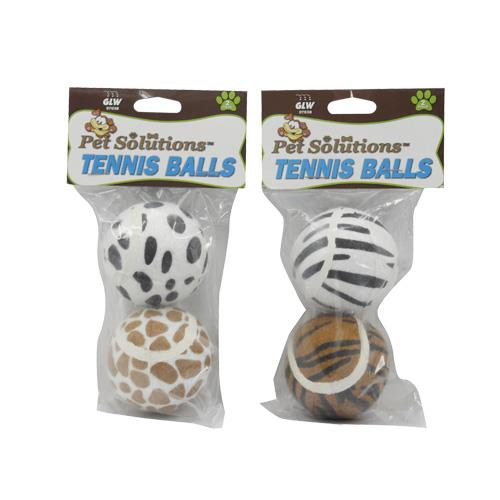 Wholesale 2pc Stripe & Spot Pet Tennis Ball
