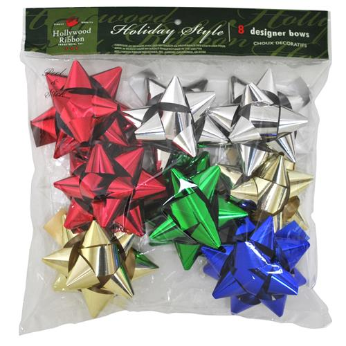 Wholesale Christmas 8 Count Large Assorted Metallic Bows In