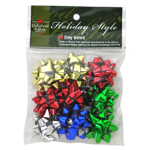 Wholesale Christmas 9 Count Ultra Tiny Assorted Bows In Bag