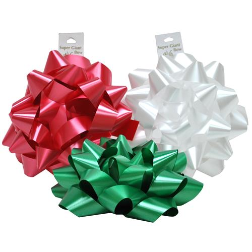 "Wholesale Christmas Super Giant 9"""" Poly Bow 3 Assorted"