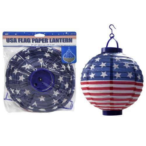 Wholesale USA FLAG PAPER LED LANTERN