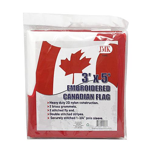 Wholesale 3'x5' EMBROIDERD CANADIAN BANN