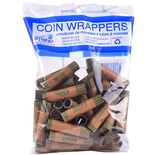 Wholesale Crimped Dime Coin Wrappers in Bag