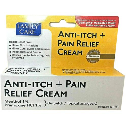 Wholesale Family Care Anti-itch + Pain Relief Cream 0.5oz