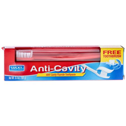 Wholesale Lucky Super Soft Toothpaste w/Toothbrush Anti-Cavity 6.4oz