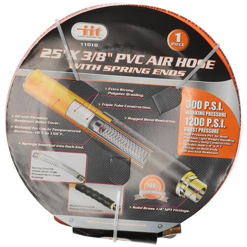 """Wholesale 25' x 3/8""""  PVC Air Hose With Bend Restrictor Ends"""