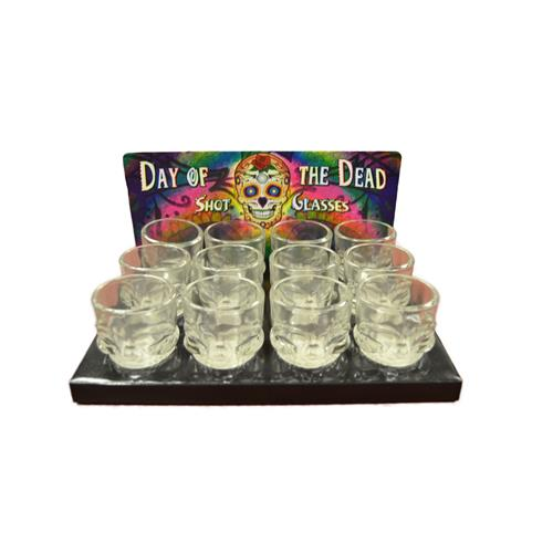 Wholesale Day of the Dead Skull Shape 2oz. Shot Glass Assortment