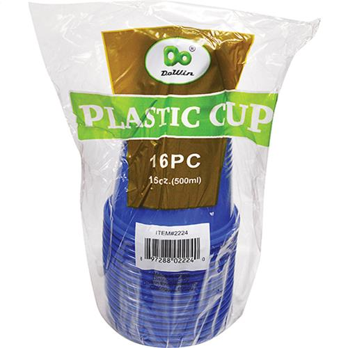 Wholesale Plastic Cups Solid Blue 16oz