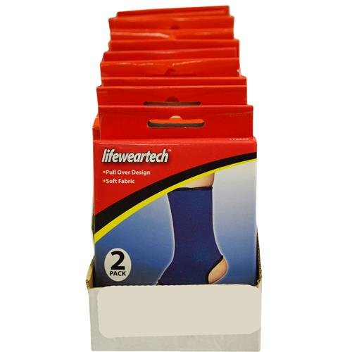 Wholesale 2PK ANKLE SUPPORT LIFEWEARTECH SOFT FABRIC