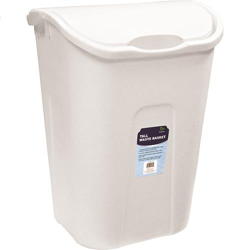 "Wholesale Wastebasket -Tall White Dual Swing with Lid 15.25"" x 11.5"" x 20.5"""