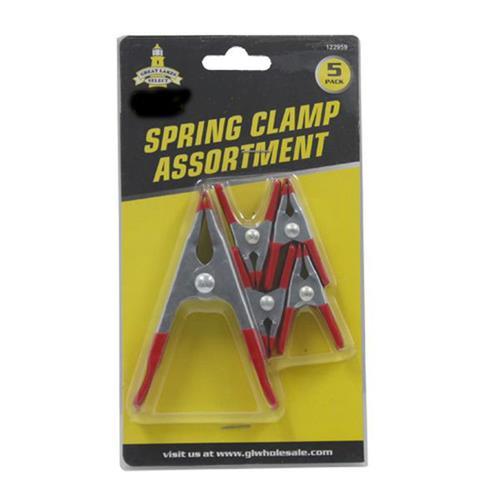 Wholesale Spring Clamp Assortment 5 pack.  4 small, 1 medium