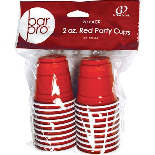 Wholesale 20pk Bar Pro-2oz. Red Party Cups