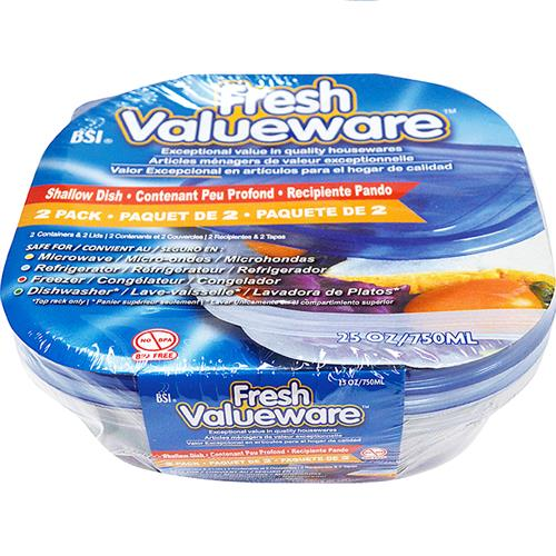 Wholesale Valueware 2pk 25oz Square plastic conatiners