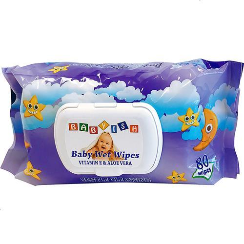 Wholesale Babyish Premium Baby Wipe Vit E & Aloe Purple Pkg