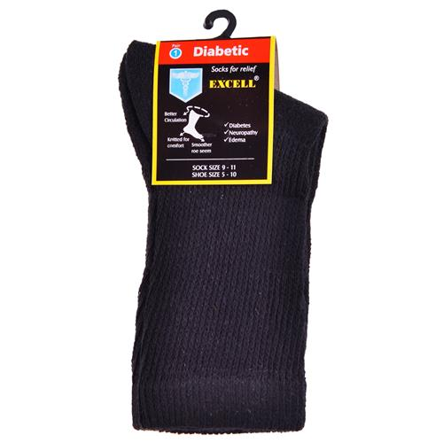 Wholesale Diabetic Crew Sock Black 9-11