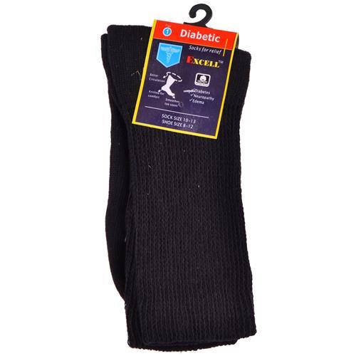 Wholesale Diabetic Crew Sock Black 10-13