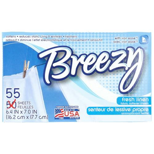 Wholesale 55CT DRYER SHEETS BREEZY FRESH LINEN