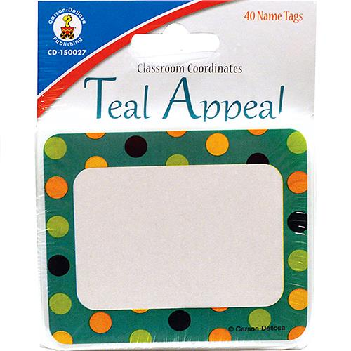 Wholesale 40CT TEAL APPEAL DOTS NAMETAGS