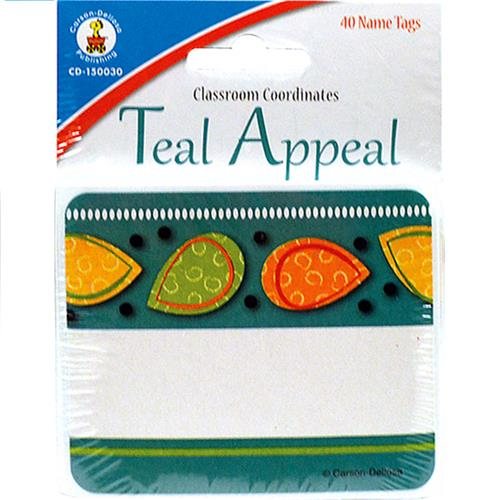 Wholesale 40CT TEAL APPEAL NAMETAGS