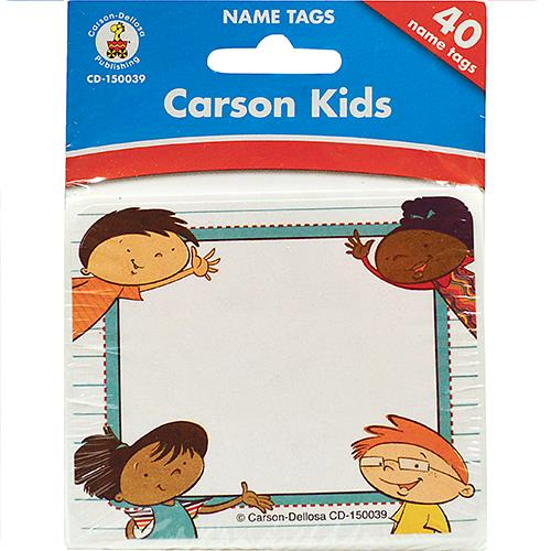 Wholesale 40 COUNT CARSON KIDS NAMETAGS