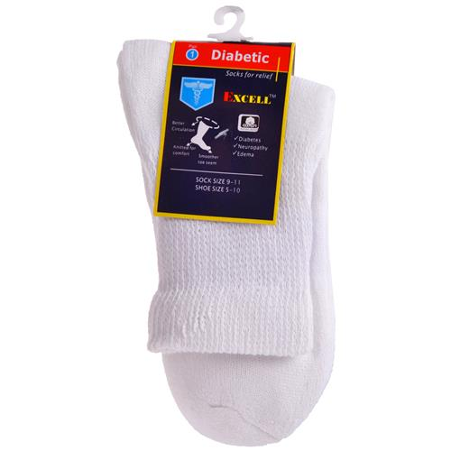 Wholesale Diabetic Quarter Sock White 9-11