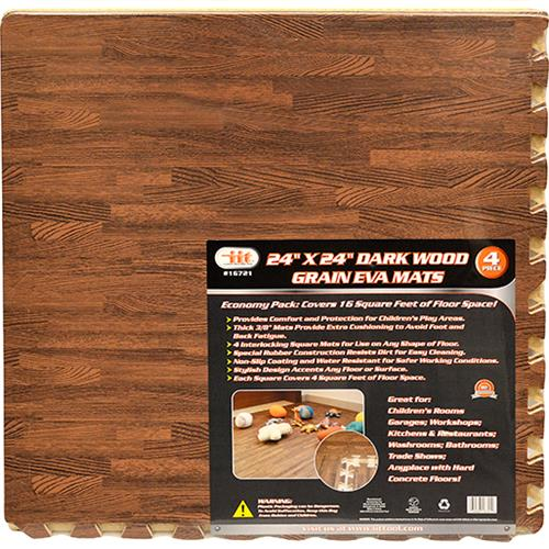 "Wholesale 4pc 24x24"" DARK WOOD GRAIN MATS"