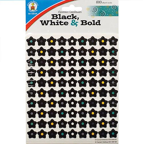 Wholesale 810ct CHART SEAL STICKERS BLACK, WHITE & BOLD