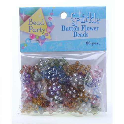 Wholesale 60 Piece Sparkle Button Flower Beads Assorted Colors