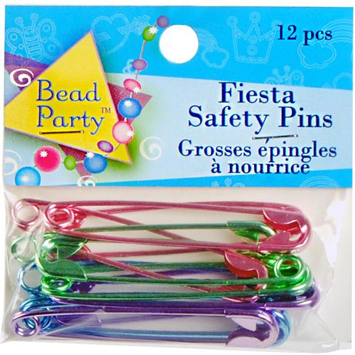 Wholesale 12 Piece Metallic Safety Pins Assorted Colors