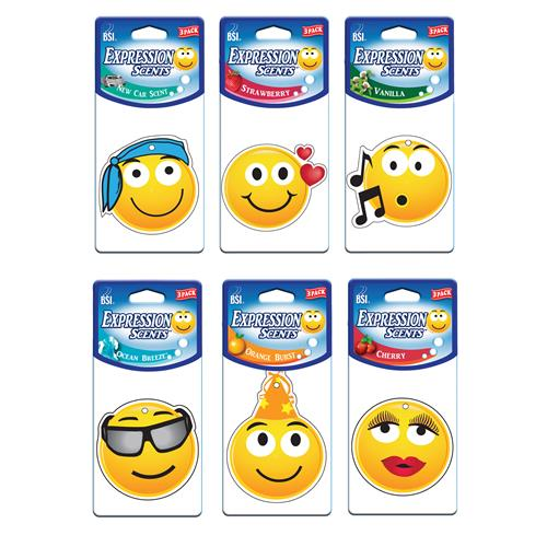 Wholesale 3pk Expression Scents Paper AirFreshener Pre-PackAssortment