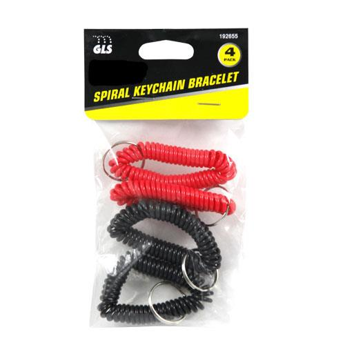 Wholesale 4pk SPIRAL KEYCHAIN BRACLET