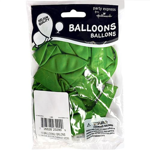"Wholesale 11"" Helium Balloons Lime 15 Packs"