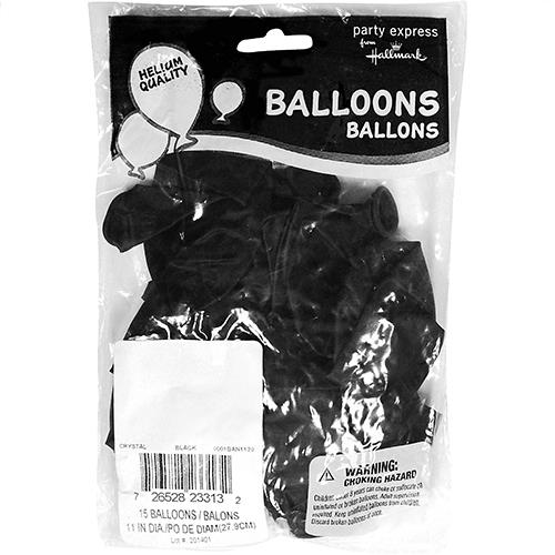 "Wholesale 11"" Helium Ready Balloons Black 15 Packs"