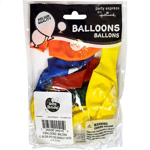 "Wholesale 11"" Happy Birthday  Assorted Standard Helium Ready Balloons 8 Packs"