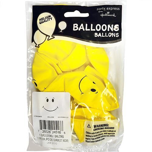 "Wholesale 11"" Smiley Face Yellow Helium Ready Balloons 8 Packs"
