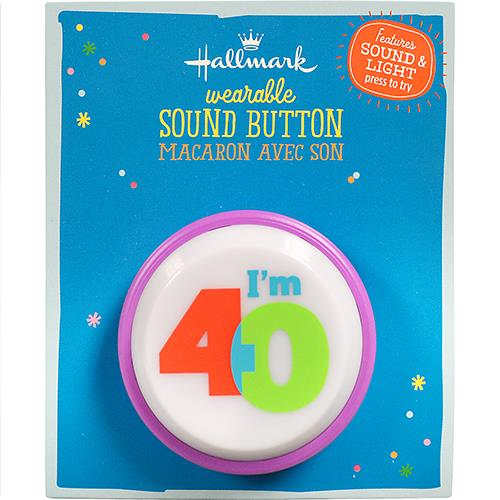 Wholesale 40TH BIRTHDAY SOUND BUTTON 2""